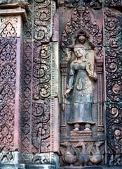 Ancient bas-relief in Banteay Srey Temple, Cambodia