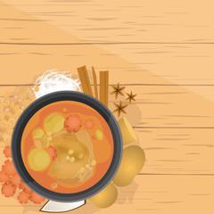 Mussaman kai,Thai Chicken Mussaman curry, with ingredients