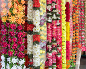Flower garlands for sale in Little India of Georgetown, Penang, Malaysia