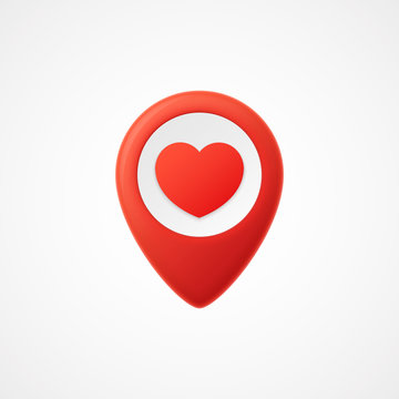3d Map pointer with heart icon. Map Markers. Vector illustration
