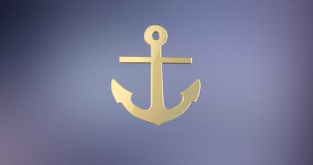 Sea Anchor Gold 3d Icon