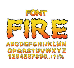 Fire font. Flame Alphabet. Fiery letters. Burning ABC. Hot typog