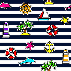 Nautical seamless pattern. Fashion Patches, Appliques, Pins on striped background. Set of Nautical and Marine symbols. Neon colors.
