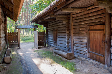 Old house in forest. Open-air ethnography museum near Riga, Latvia.