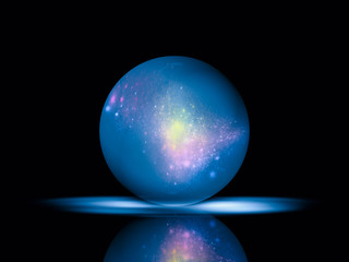 Beautiful voluminous blue ball and reflection on black background