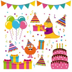 monster characters in birthday party vector illustration design