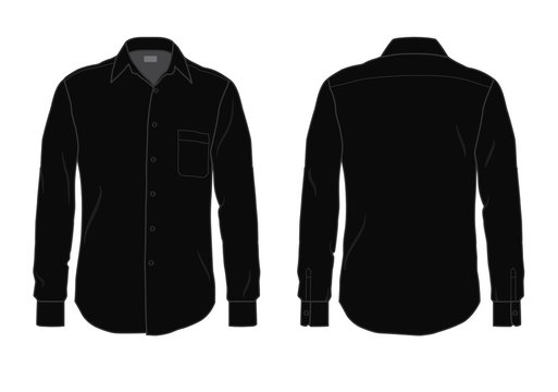 Black men's button down dress shirt template, front and back view