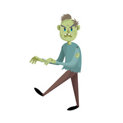 Walking cartoon man zombie character. Halloween party simple gradient vector. Trendy flat design.