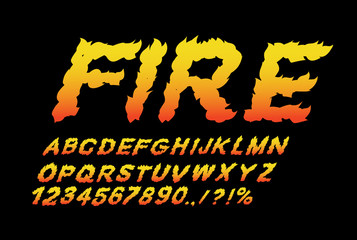 Fire font. Flame ABC. Fiery letters. Burning alphabet. Hot typog