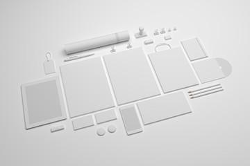 Set of 3d illustration stationery mock-up with a tablet