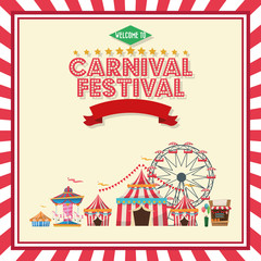 Ferris wheel carousel striped tents and stand. Carnival festival fair circus and celebration theme. Colorful and frame design. Vector illustration