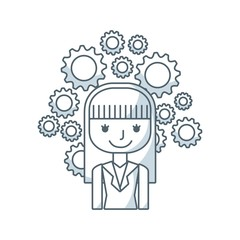 business person with set line icons vector illustration design