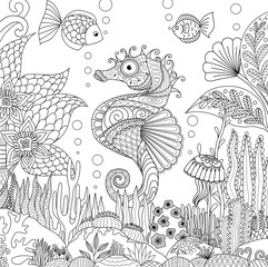 Zendoodle design of seahorse swimming under ocean surrounding by beautiful corals and seaweeds, for adult coloring book pages for anti stress - Stock Vector