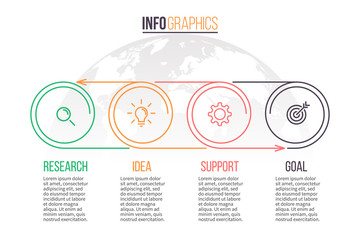 Business infographics. Timeline with 4 steps. Vector template.