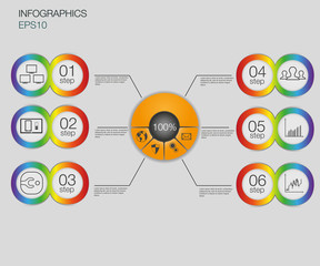 Business graph, 6 steps vector infographics background. Number banners template/tags or website template.