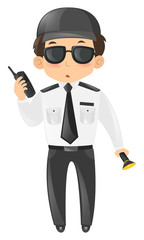 Security guard with radio and torch
