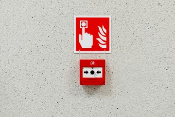 Red fire alarm button