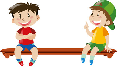 Two boys sitting on bench