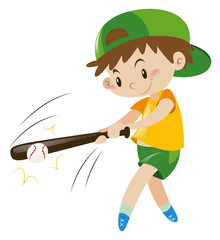 Boy hitting ball with wooden bat