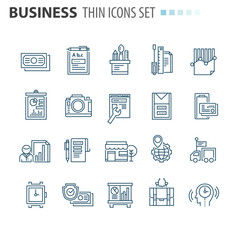 thin line flat isolated business icons set