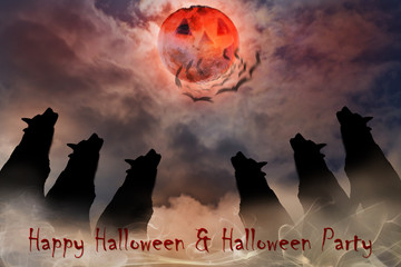 Wolf / Silhouette of wolves with moon at night. Digital retouch.