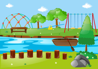 Scene with river and playground