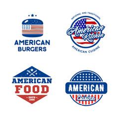 Set of retro logos american cuisine concept. Creative vector illustration for fast food, restaurant labels, emblems, badges.