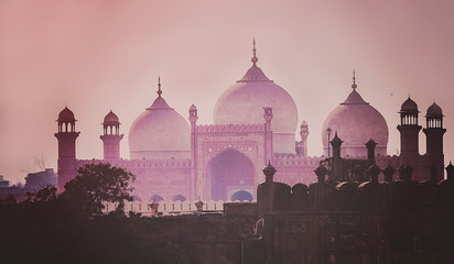 Domes of the The Badshahi Mosque Wall mural