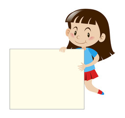 Happy girl holding white board