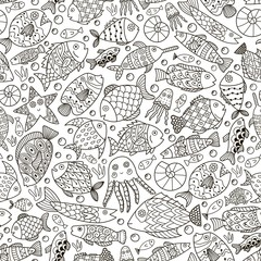Ocean collection with doodle fish for coloring book