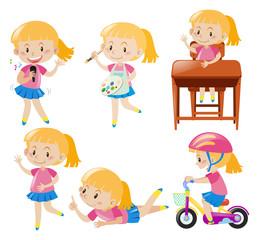 Girl doing different activities