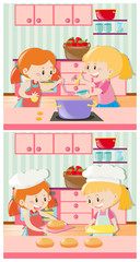 Girls cooking and baking in kitchen