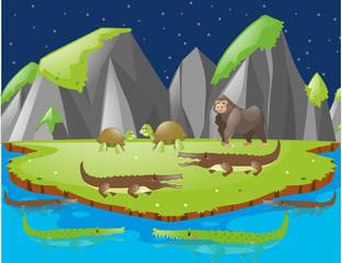 Scene with crocodiles and other animals on island