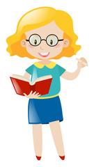 Teacher with glasses teaching