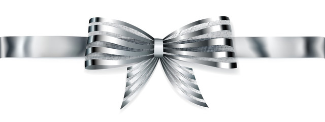 Shiny bow with horizontal ribbon