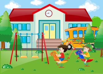 Two boys playing at school
