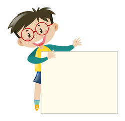 Boy with glasses holding paper