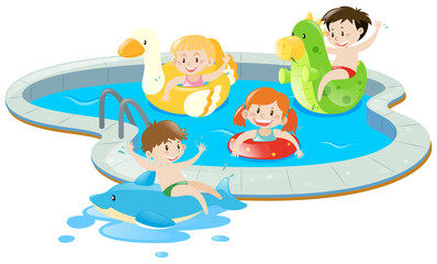 Four kids having fun in the pool