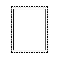 Postal stamp template. Blank postal stamp with perforation holes. Vector Illustration