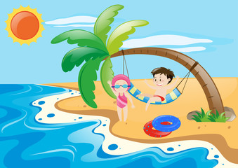 Summer theme with kids on beach