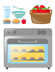Oven and set of food