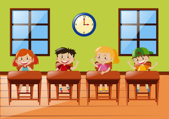 Four students sitting in classroom