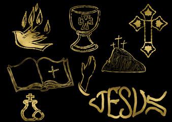 Gold christian icon set