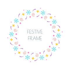 Christmas festive round frame for Christmas cards, invitations, print and winter design. Vector