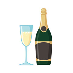 Champagne bottle with glass icon in flat style.
