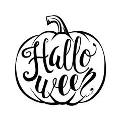 Hand drawn halloween script text with pumpkin sketch