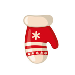 Christmas mitten icon in flat style.