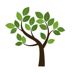 Shape of Tree with Green Leafs. Vector Illustration.