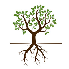Shape of Tree with Green Leafs and Roots. Vector Illustration.