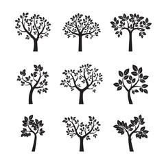 Set of Black Trees. Vector Illustration.
